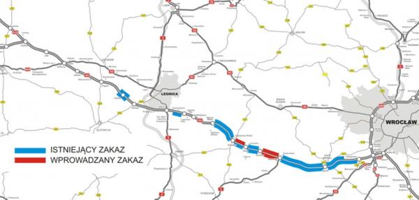 Blisko 1150 wykroczeń dotyczących zakazu wyprzedzania przez ciężarówki na dolnośląskim odcinku A4