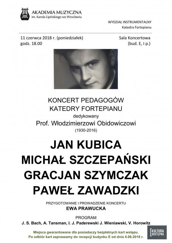 Koncert pedagogów dedykowany pamięci prof. Włodzimierza Obidowicza