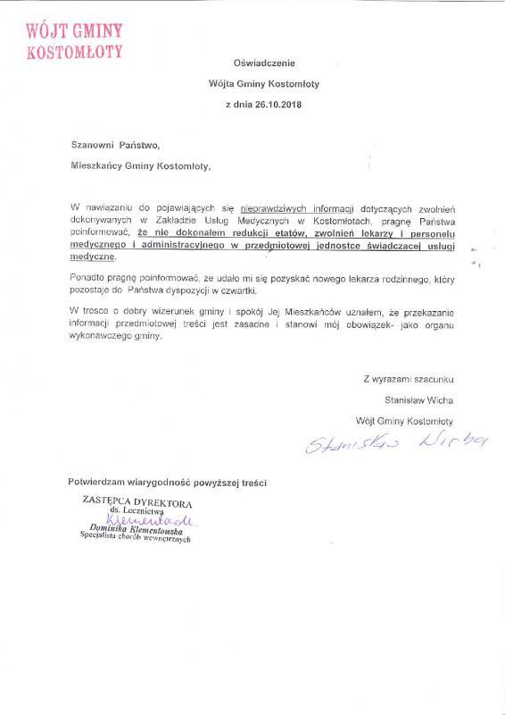 Oświadczenie wójta gminy Kostomłoty