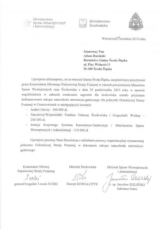 Promesa dla gminy Środa Śląska na zakup samochodu pożarniczego dla OSP Cesarzowice