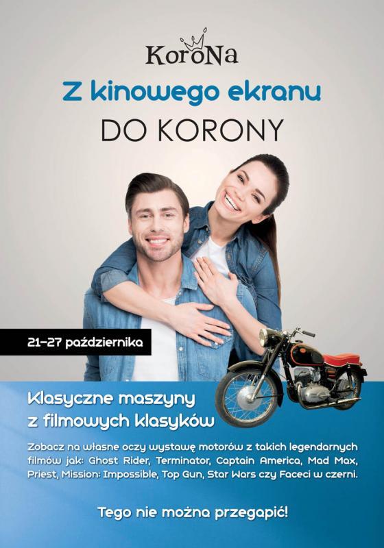 Wystawa motocykli filmowych wCentrum Korona