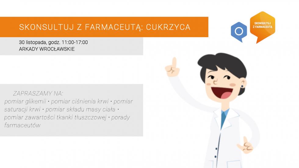 Bezpłatne badania poziomu cukru ikonsultacje zfarmaceutami wArkadach Wrocławskich