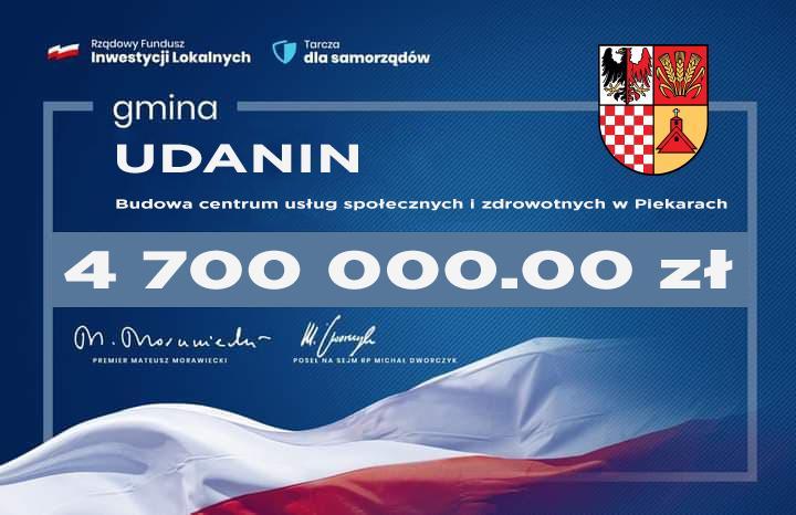 Rządowy Fundusz Inwestycji Lokalnych – 4,7 miliona złotych dla gminy Udanin