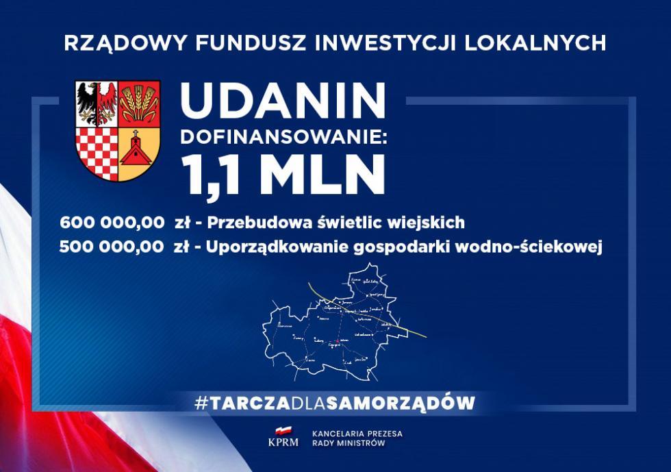 Gmina Udanin otrzymała dwie dotacje zRządowego Funduszu Inwestycji Lokalnych